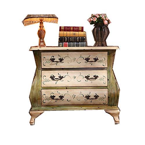 ZDAMN Aparador Gaveta for la Consola Gabinete Americana de Madera Maciza Mueble Antiguo Pintado Tres cajones Gabinete Lateral (Color : Yellow, Size : 81x41x70cm)