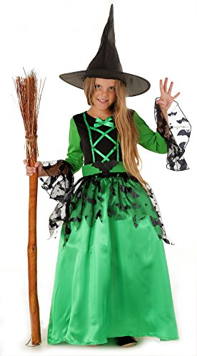 Magicoo Fledermaus Hexenkostüm Kinder Mädchen grün-schwarz & Hexenhut (110/116)