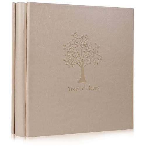 RECUTMS Baummuster Plain Leather Cover Fotoalbum 600 Taschen halten 10x15 Fotos, 5 Taschen pro Extra große Kapazität für Familienhochzeitstag Babyurlaub (Cremeweiß)