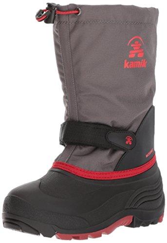 Kamik Girl's Waterbug5 Snow Boot, Charcoal/Red, 7 Medium US Big Kid