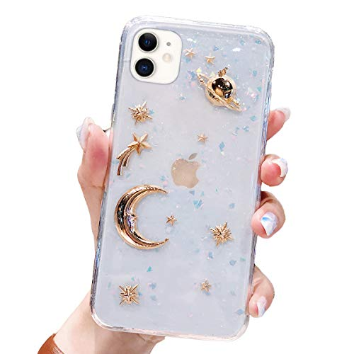 BONITEC for Apple iPhone 11 Case 3D Bling Planet Glitter with Space Sparkle Moon Star Universe Flexible Soft TPU Transparent Clear Shockproof Protective Cases Cover Gold
