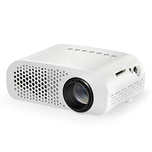 Projector, Syhonic S8 Updated LED Mini Portable Multimedia Home Theater Projector Support HDMI USB SD AV VGA TV Interface Video Games TV Movie Pocket Size Projector (White)