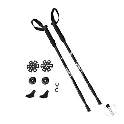 Relaxdays Unisex– Erwachsene Walking Stöcke, 2 Teleskop Trekkingstöcke, verstellbar, faltbar, Gummipuffer, leichte Wanderstöcke, schwarz, 2 Stück