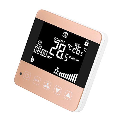 Jadpes Digitaler Temperaturregler, AC210-230V Intelligentes Netzwerk Touchscreen Zentrale Klimaanlage LCD-Thermostat Gebläsekonvektor Dreistufenschalter für zentrale Klimaanlage(#1)