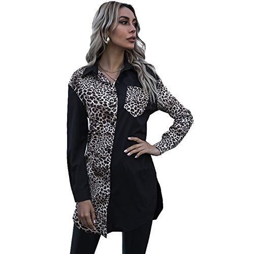 Primavera Mujer Camisa con Estampado de Leopardo Señoras Patchwork Cuello Delgado Manga Larga Blusa de Gasa...