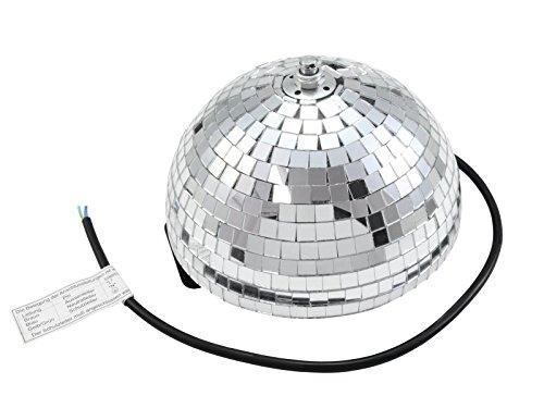 showking Disco - Halbkugel Glanz mit Sicherheitsmotor, Ø 20cm, Silber - Halbe Spiegel Kugel mit Drehmotor