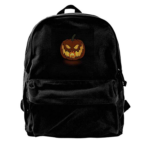 maichengxuan Canvas Backpack Halloween Calcifer Flame Rucksack Gym Hiking Laptop Shoulder Bag Daypack for Men Women
