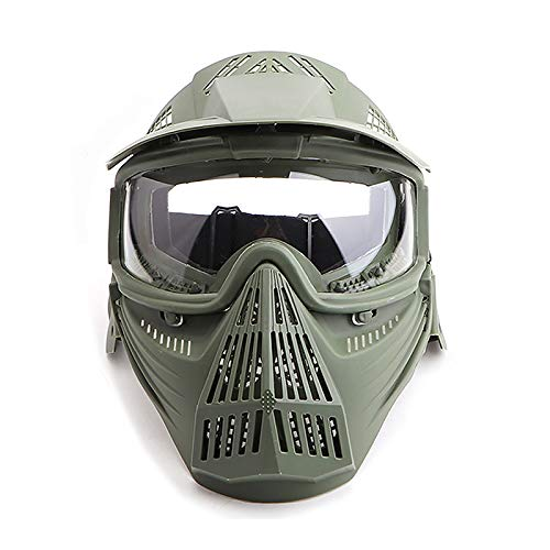 Paintball Maske mit Schutzbrille Schutzmaske Taktische Full Face fur Airsoft Softair Halloween CS Partyspiel Grün & Klar Linsen