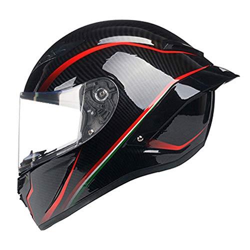 Woljay Vollgesicht Motorradhelm Unisex-Erwachsener Offroad Moto Street Bike ATV Helme Glas Rote Linie DOT Approved (Transparent,XL)