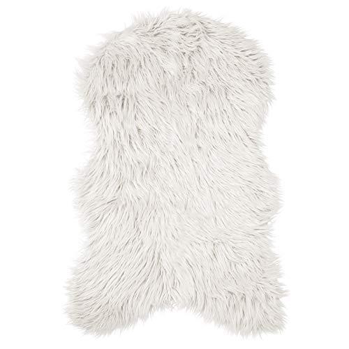 Pure Label Schaffell- Lammfell- Kunstfell Teppich für Wohn und Schlafzimmer. Als Deko Faux Fell auf dem Sofa/Stuhl oder als Bett-Vorleger (Weiß/Offwhite - 55 x 90 cm)