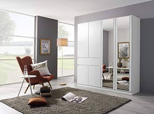 Rauch Möbel Tübingen Schrank Kleiderschrank Drehtürenschrank in Weiß mit Spiegel inklusive 1 Schublade, 6-türig, Zubehörpaket Basic 3 Einlegeböden, 1 Kleiderstange, BxHxT 181x197x54 cm
