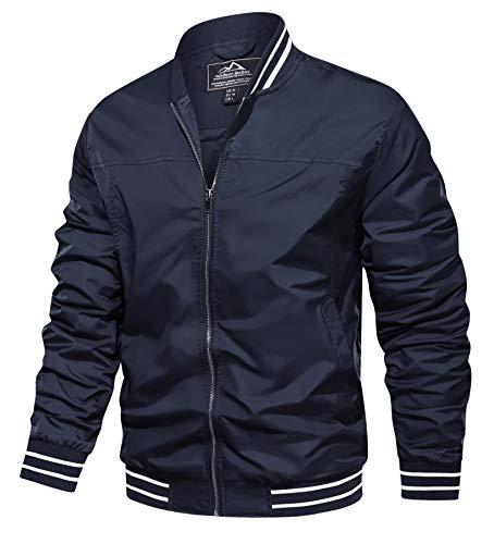 TACVASEN Lightweight Windbreaker Jackets for Men Casual Active Jackets Full Zip Navy, XL