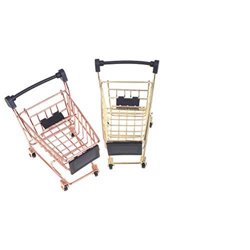 2 piezas (oro+oro rosa) Mini carrito de la compra carro de la compra hogar oficina artículos de almacenamiento adornos de juguete para niños