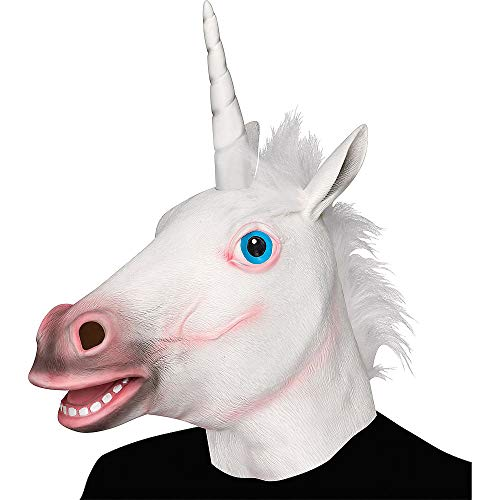 XIAO MO GU Halloween Maske latex Einhorn Tiermaske Kostüm