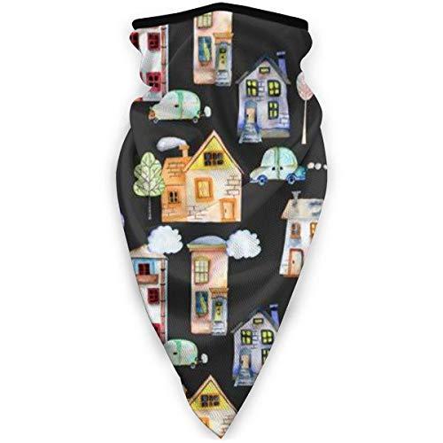 TTYIY Máscara de esquí resistente al viento, máscara deportiva para el cuello, bufanda con diseño de dibujos animados casas inglesas, pasamontañas, capa media térmica de invierno