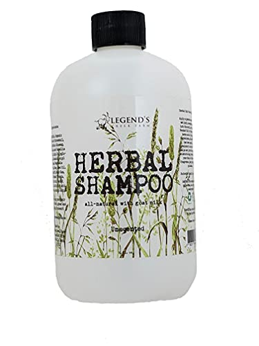 Legend's Creek Farm, Herbal Goat Milk Shampoo, Gently Cleansing & Soothing, Calendula, Rosehip, & Ginseng, Intense Softness & Shine, For Dry & Damaged Hair, Handmade in USA, 18 fl. Oz (Unscented H.S.)