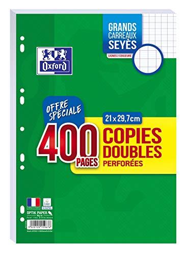 OXFORD Lot de 400 Pages Copies Doubles Grands Carreaux Seyès Format A4 (21x29,7cm) Perforées