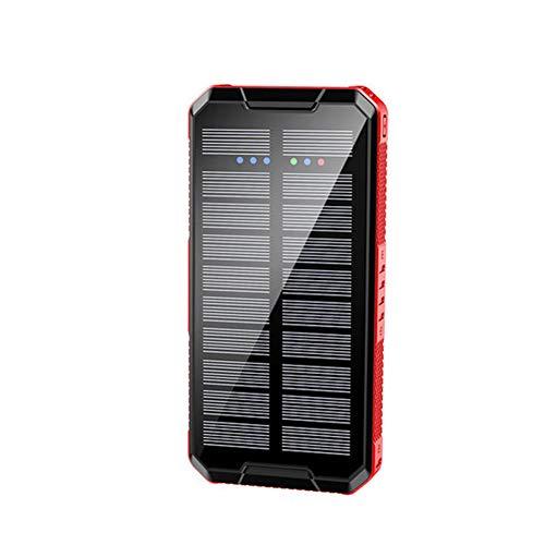 LIERSI Banco De Energía Solar Inalámbrica 80000Mah Cargador Externo Portátil LED De Carga Rápida Batería Externa para Teléfono Inteligente,Rojo