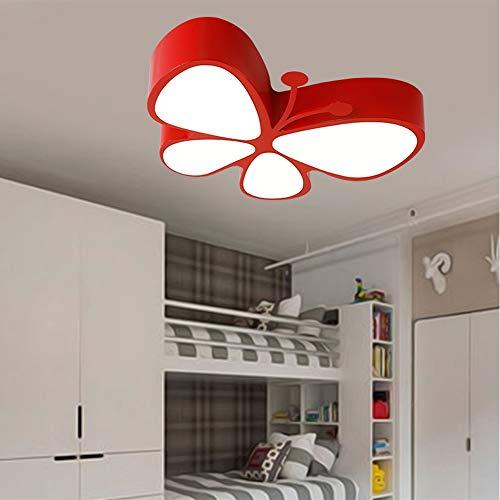 YZYZYZ lámpara de Techo 36W Color Cartoon Mariposa Led Protección De Los Ojos De Acrílico De Bajo Consumo De Energía De La Lámpara De Luz del Dormitorio De Los Niños (Color : Orange)