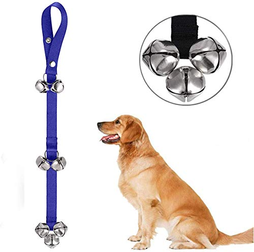 e-Times Bells for Dogs to Ring to Go Outside,Adjustable Door Bell Dog Bells for Potty Training Your Puppy The Easy Way - Premium Quality - 7 Extra Large Loud 1.4 DoorBells Blue