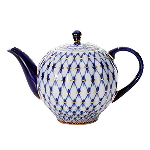 HRDZ Porcelain afternoon tea set, ceramic coffee cup and saucer set, cobalt blue mesh mug