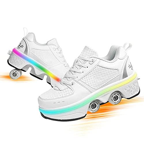 Zapatillas con Ruedas Led Luces Zapatos De Roller Ajustable Doble Rueda Patines Calzado Deportivo Al Aire Libre Zapatos De Skateboard para Niños Y Niña