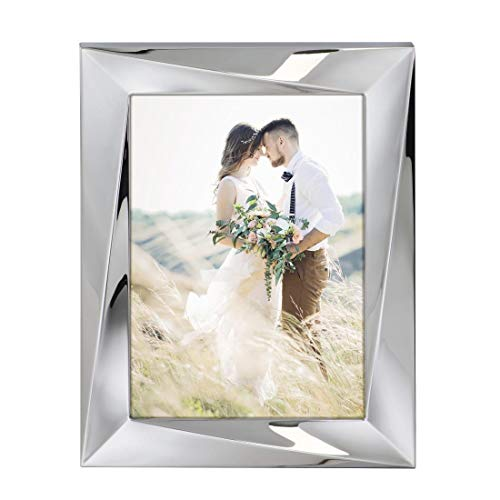 Hama Bilderrahmen 13x18 cm (Fotorahmen aus Metall, Porträt-Rahmen mit Samtrückwand zum Aufstellen und Aufhängen) silber