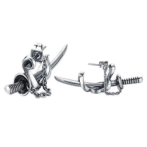 GUMONI - Pendientes de espada para hombre, 1 par de pendient
