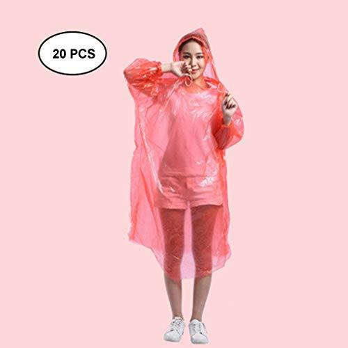Best Buy! Lgan 20PCS Rain Poncho Disposable, Clear Adult Ponchos with Hood Raincoat for Men Women Em...
