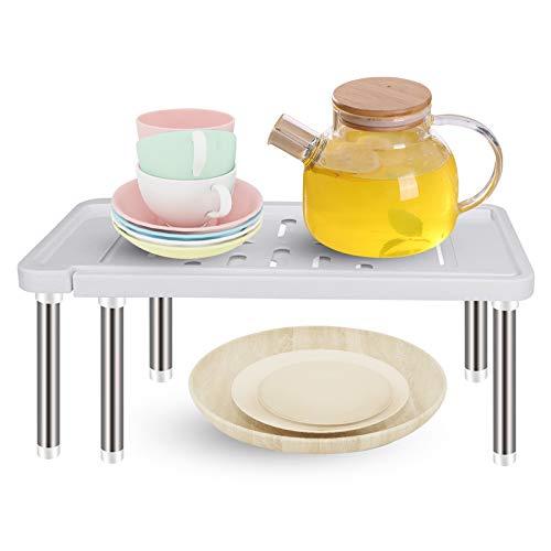 Wiipara, organizer da cucina, espandibile per cucina, multifunzione, per riporre alimenti, lattine, piatti, da 35 cm a 61 cm (grigio)