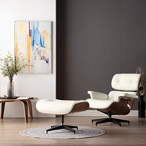 Sedia da salotto e ottomano Mid Century versione più alta, sedia classica in pelle di grano superiore in legno massello (aggiornato 1 – noce crema)