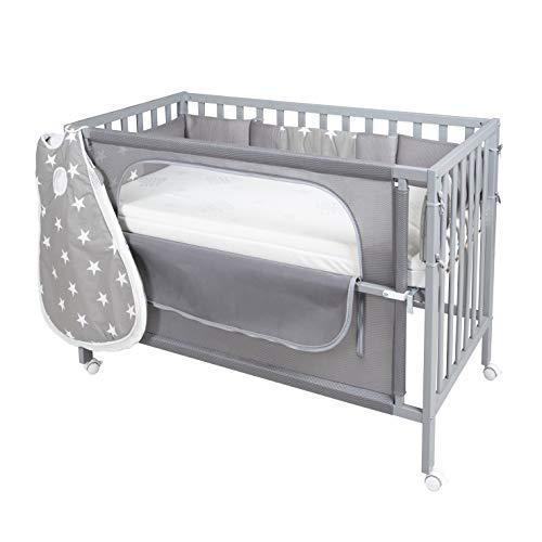 Roba Lit d'appoint pour bébé 60 x 120 cm Little Stars avec équipement Complet, lit de Berceau, lit Junior, Bois, Taupe, laqué.