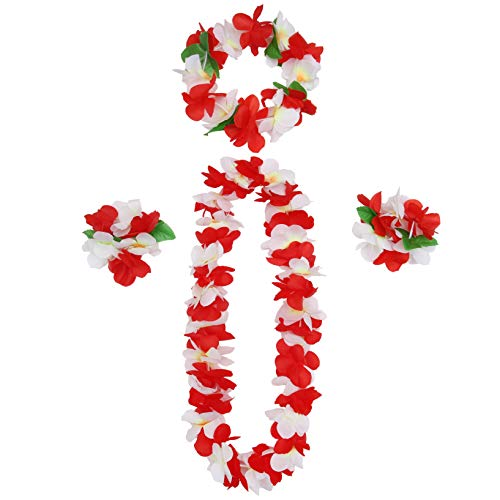 Youkwer Hawaiian Flower Leis Jumbo Necklace Bracelets Headband Set,Hawaiian Leis Set Hawaii Wreath Lei Party Favors for Hawaiian Luau Party Decoration Supplies (Red)
