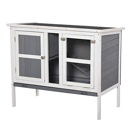 """PawHut Rabbit Hutch Elevated with Slide-Out Tray & Openable Top 40"""" x 22"""" x 34"""", Grey"""