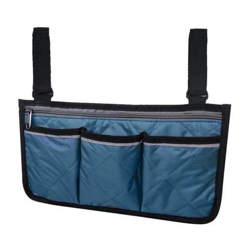 Rollator Walker Bags Electric Scooter Wheelchair Side Pouch Storage Bag - Chair Armrest Pocket Organizer Holder Darkblue32.5*18cm