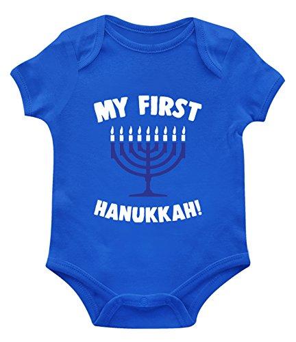 SpiritForged Apparel My First Hanukkah Infant Bodysuit, Royal 6 Months