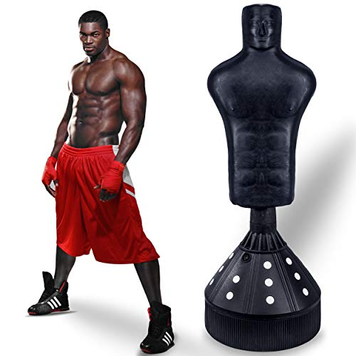 Lions Free Standing 6ft Punch Bag Torso Dummy Boxing Stand Martial Arts Fitness Kick Punching Training Dummy & Boxing Gloves