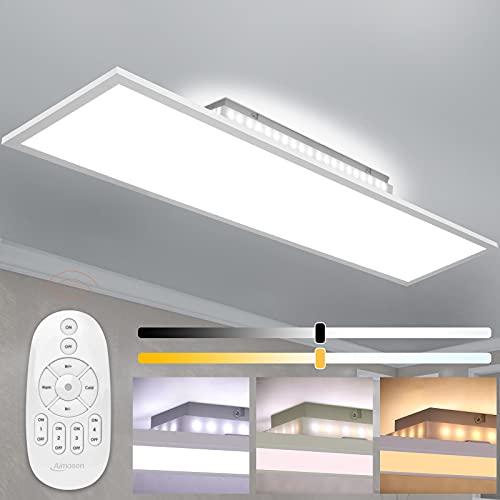 Aimosen Dimmbar LED Deckenleuchte Panel 100x25cm, 28W Rechteck Deckenlampe mit Backlight, Fernbedienung, Indirekter Licht, 2700K - 6500K Warm Natur Kalt Weiß Lampe für Wohnzimmer Küche Werkstatt Büro