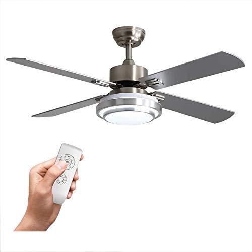 Plafondventilator, 52 inch geborsteld nikkel inbouw plafondventilator voor binnen, afstandsbediening moderne bladen geruisloze omkeerbare motor