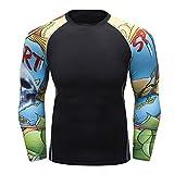 Fanii Quare Men's Soft Fit Long Sleeve Workout Rashguard Cool Dry Compression Fitness Shirt Ninja M