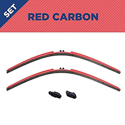 Clix Wipers for Jeep Wrangler/Unlimited (1996-2017) - Fits All Models/All Types, Red Carbon Fiber Series, Set of two 14-Inch Wiper Blades and Clips, All-Weather Design