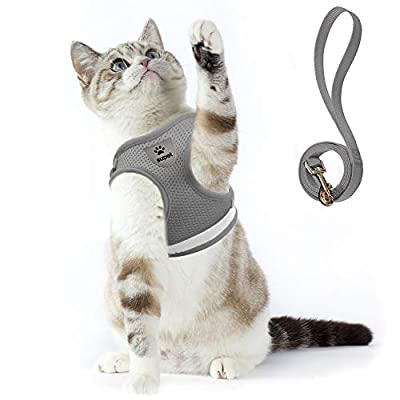 Cat Harness and Leash Set for Walking Small Cat and Dog Harness Soft Mesh Harness Adjustable Cat Vest Harness with Reflective Strap Comfort Fit for Pet Kitten Puppy Rabbit