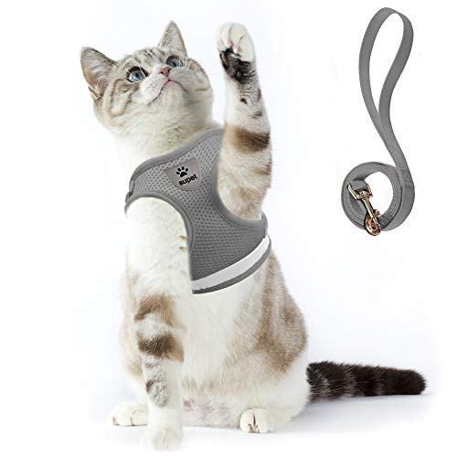 Supet Cat Harness and Leash Set for Walking Cat and Small Dog Harness Soft Mesh Puppy Harness Adjustable Cat Vest Harness with Reflective Strap Comfort Fit for Pet Kitten Puppy Rabbit