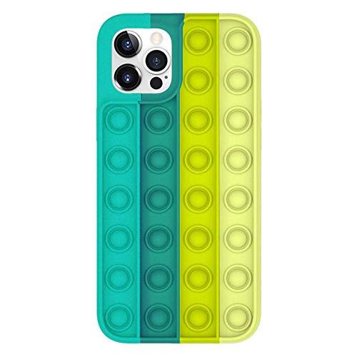 Sensory Push Pop Bubble Fidget Toys Funda telefónica para iPhone, relevista de estrés Funda protectora de silicona suave Cubierta de teléfono anti-gota-7_Para la caja del iPhone 12