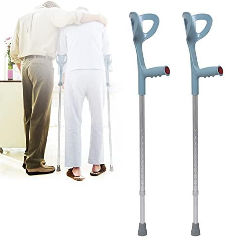 YXW Muletas de antebrazo para Adultos (par), bastón ergonómico con puño anatómico, muletas ergonómicas Ajustables de Aluminio, para Mujeres y Hombres de 150-185 cm de Altura