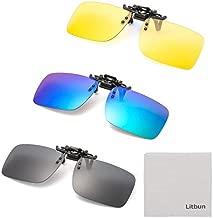 Litbun 3 PACK, Clip on Sunglasses Flip up Polarized Lens For Prescription Glasses, UV Protection Over RX Eyeglasses, Black, Blue, Yellow, Free