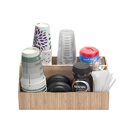 Coffee Condiment Accessory Organizer holds Cups Lids Espresso Pods Sugar Stirs Creamer more Kitchen Commercial Use Bamboo 4 Sections