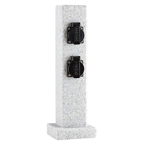 Waldbeck Granite Power - Außensteckdose, Gartensteckdose, 4-fach Schutzkontakt, 3500W, spritzwassergeschützt, 4 Kabeldurchlässe, witterungsbeständig, grau