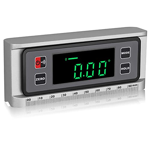 Inclinómetro Digital con Base Magnética de Ranura en V XUNTOP Ángulo Inclinómetro Eléctrico con Escala de Regla 4×90° Caja de NivelImpermeable IP42 para Industrias de Madera, Automotriz y Maquinaria