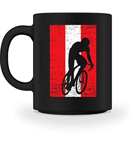 Generisch …sterreich Fahrrad Team - National Flagge Mannschaft Land Fan Rennrad Radsport Motiv - Tasse -M-Schwarz